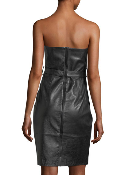 Strapless Leather Cocktail Dress, Black