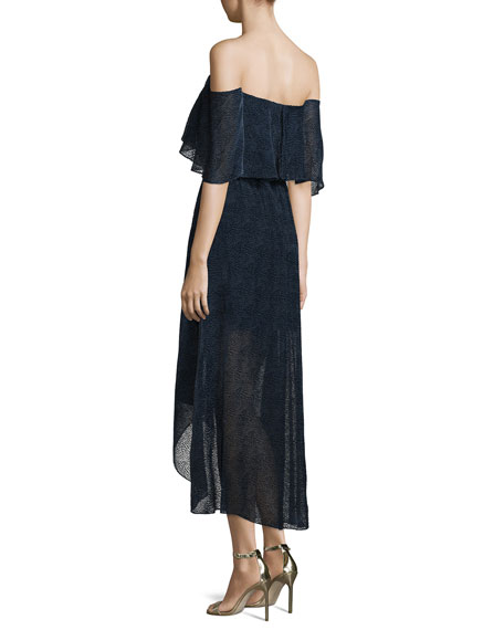 Off-The-Shoulder Draped High-Low Cocktail Dress, Ink