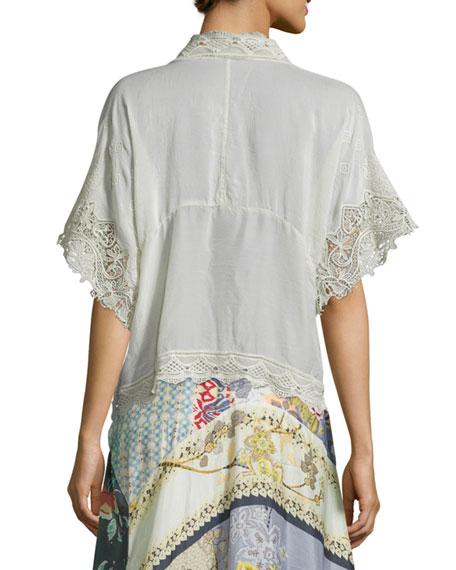 Reedy Lace-Trim Wrap Jacket, Gray Whisper, Plus Size