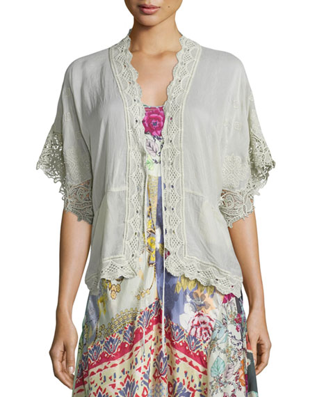 Johnny Was Reedy Lace-Trim Wrap Jacket, Gray Whisper,