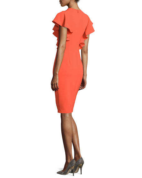 Ruffled Short-Sleeve Cocktail Dress, Coral