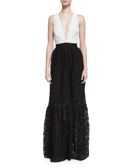 Sachin & Babi Sleeveless Colorblock Lace Gown, Jet