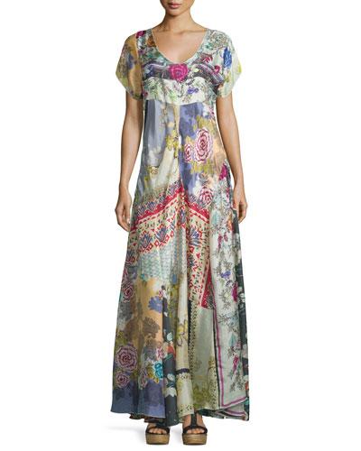 Dolce Vivo Patch Maxi Dress, Multi Colors