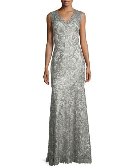 Tadashi Shoji Sleeveless Lace Mermaid Gown, Ash Gray | Neiman Marcus