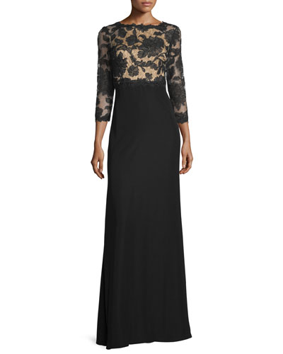 3/4-Sleeve Lace-Bodice Gown, Black/Nude