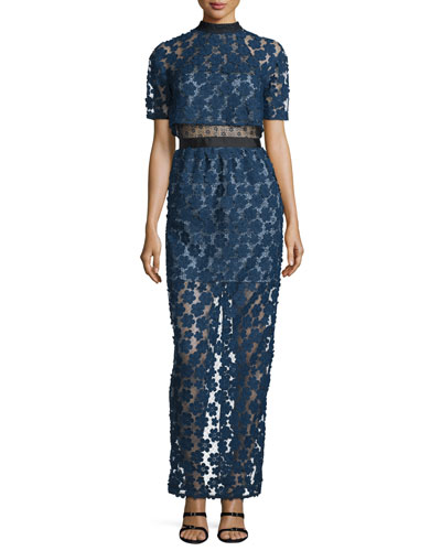 Floral Embroidered Popover Maxi Dress, Cobalt Blue/Black