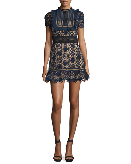 Self Portrait Louisa Lace Mini Dress, Navy/Nude/Black