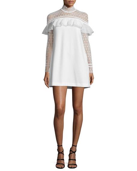 Self Portrait Long-Sleeve Lace-Trim Crepe Mini Dress, White