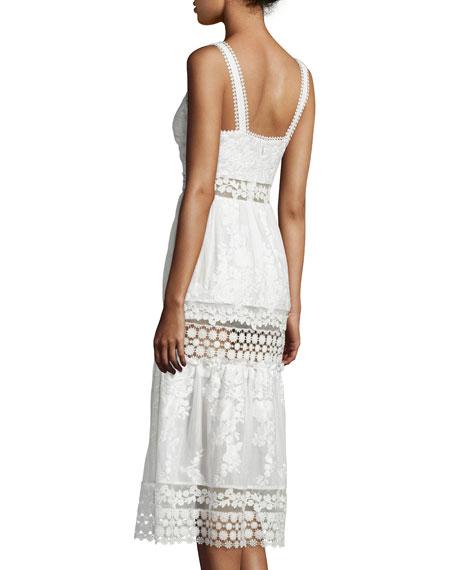 Sleeveless Embroidered Prairie Dress, White