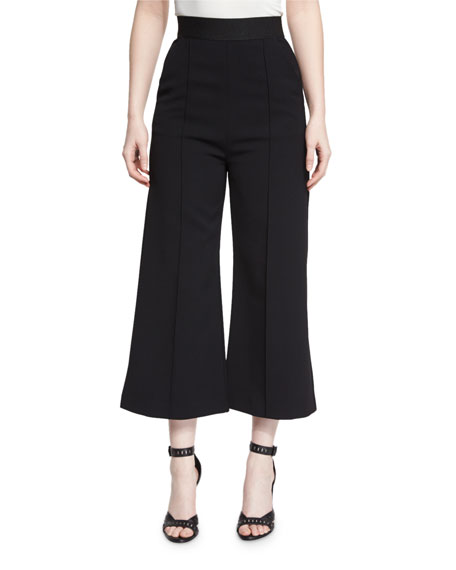 Self-Portrait Natasha High-Rise Flared Culottes, Black