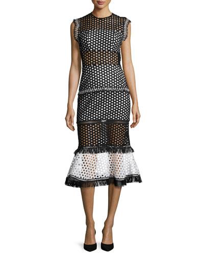 Mag Sleeveless Eyelet Mesh Midi Dress, Black/White