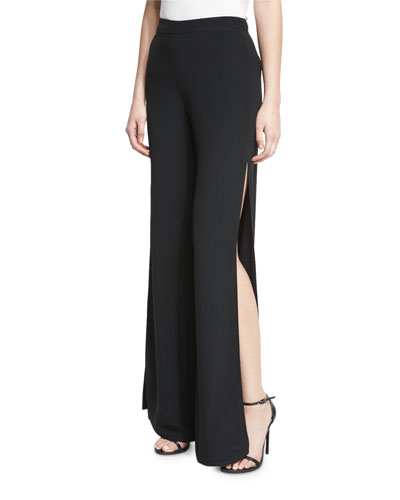 Brenda Wide-Leg Side-Slit Pants, Black