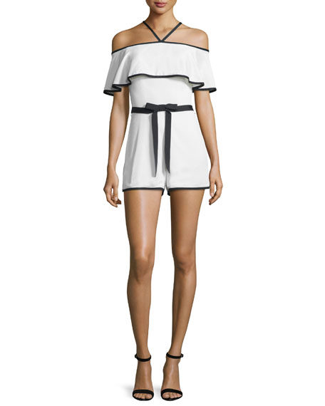 Alexis Kristin Crepe Off-the-Shoulder Romper, Vanilla