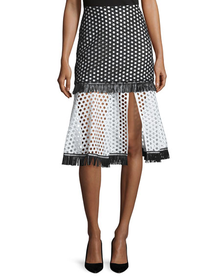 Alexis Elisa A-Line Eyelet Skirt, Black/White Circle