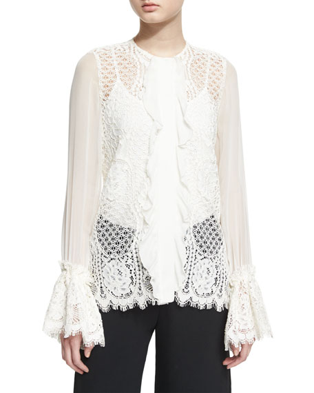 Alexis Amilina Long-Sleeve Lace Silk-Trim Top, Ivory