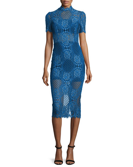 Alexis Delila 3/4-Sleeve Lace Midi Dress, Passionate Blue