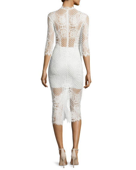 Image 2 of 2: Miller 3/4-Sleeve Lace Midi Dress, Ivory
