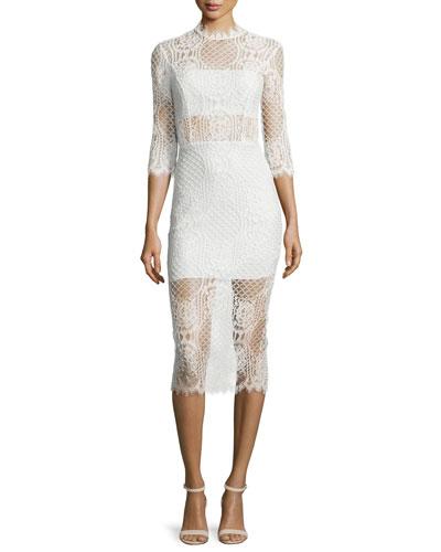 Miller 3/4-Sleeve Lace Midi Dress, Ivory