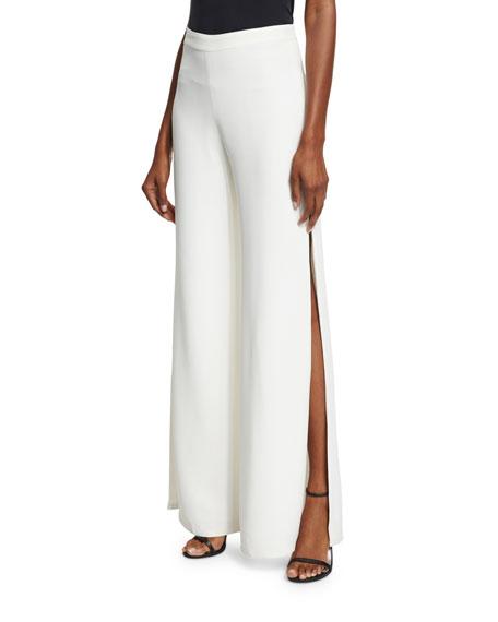 Alexis Brenda Wide-Leg Side-Slit Pants, White