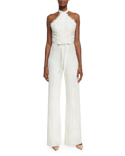 Maylina Sleeveless Grecian Lace Jumpsuit, Ivory