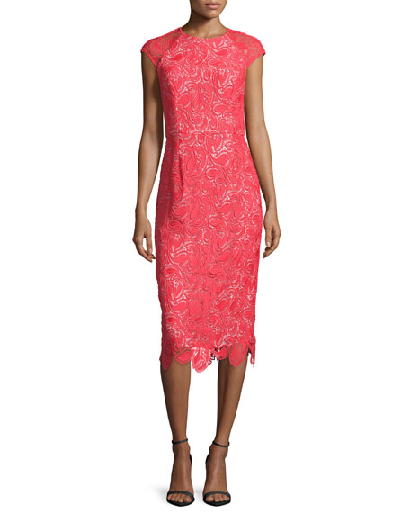 ShoshannaCap-Sleeve Lace Sheath Dress, Persimmon