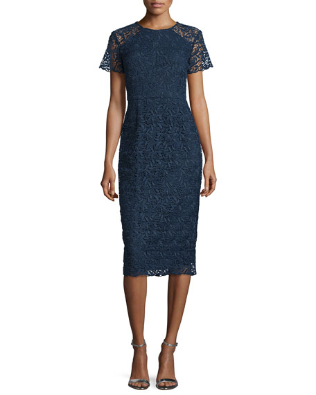 shoshanna shortsleeve florallace sheath dress navy