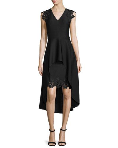 High-Low Peplum Cocktail Dress w/Lace Trim