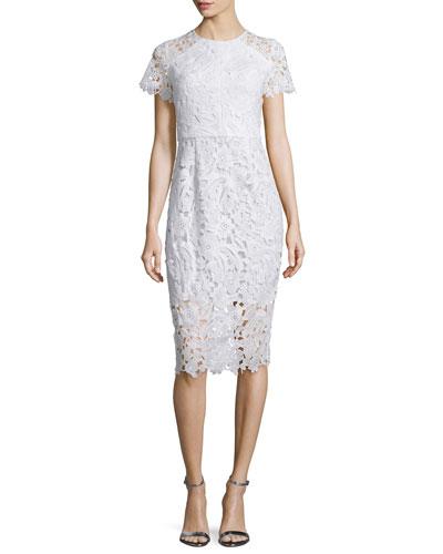 Short-Sleeve Lace Midi Dress, Optic