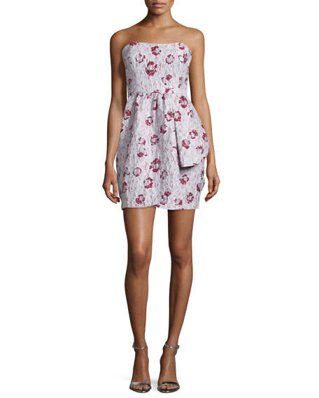 ShoshannaStrapless Floral-Print Mini Dress, Blush Multi