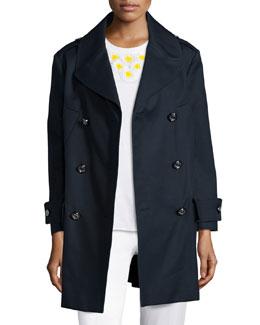 Long-Sleeve Cotton Trenchcoat, Blue