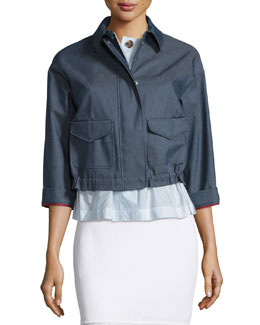 3/4-Sleeve Chambray Jacket, Blue