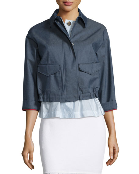 RED Valentino 3/4-Sleeve Chambray Jacket, Blue