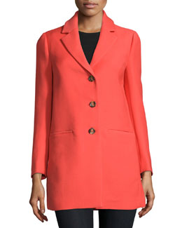 Notch-Collar Wool-Blend Coat, Arancio