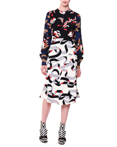 Long-Sleeve Multipattern Midi Dress, Multicolor