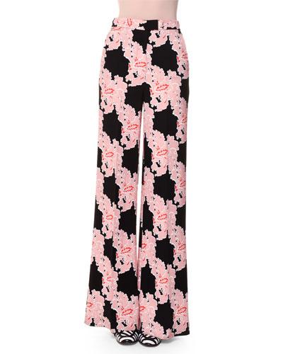 Lace-Print Wide-Leg Trousers, Multicolor