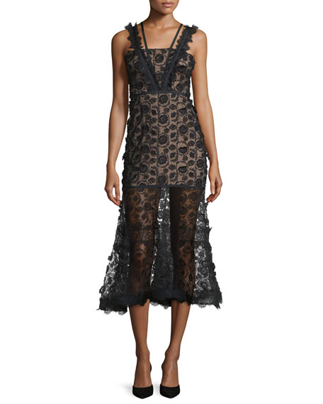 Alexis Lorelle Sleeveless Embroidered Lace Midi Dress, Black