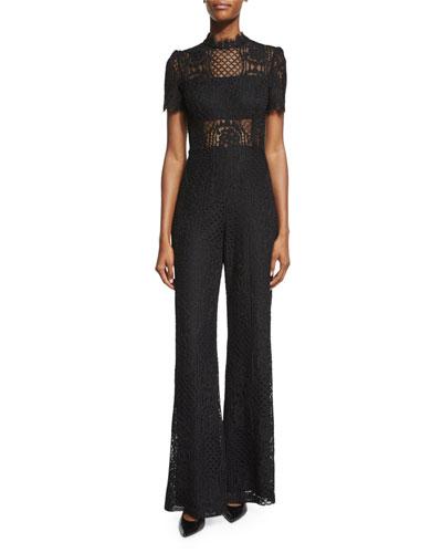 Andre Short-Sleeve Lace Jumpsuit, Black