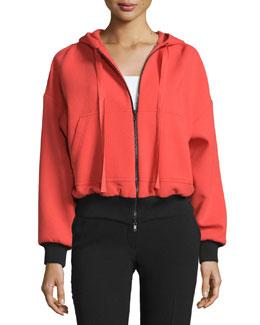 Hooded Zip-Front Wool Jacket, Arancio