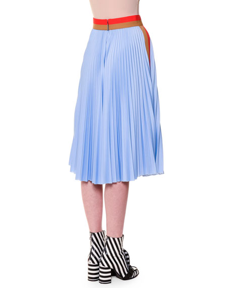Pleated Colorblock Midi Skirt, Blue