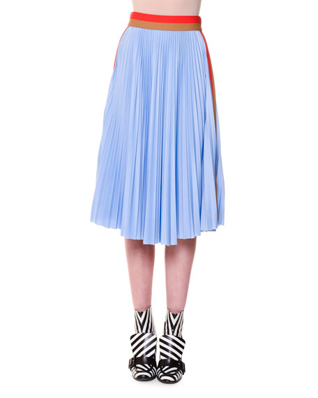 Pleated Colorblock Midi Skirt, Blue