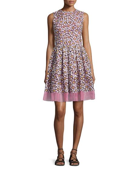 RED Valentino Daisy-Print Fit-&-Flare Dress, Peonia
