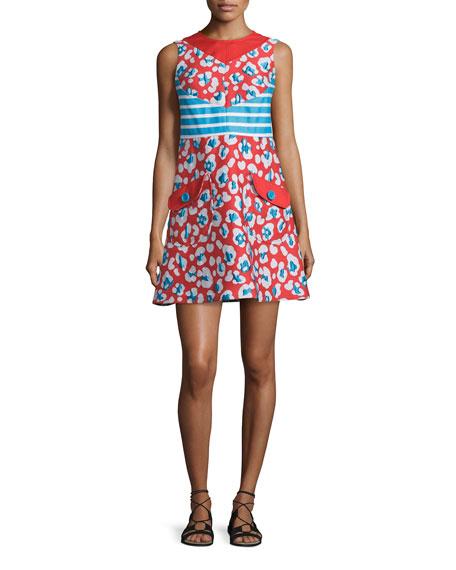 RED Valentino Sleeveless Mixed-Print Shift Dress, Papaya