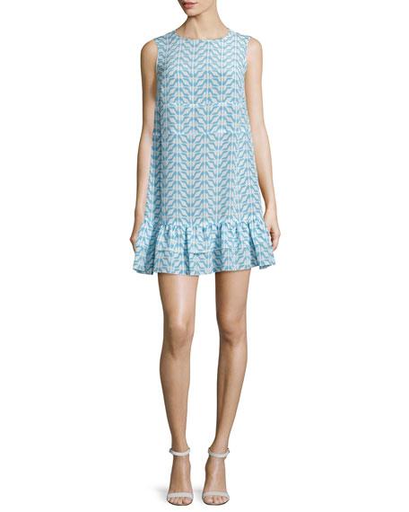 RED Valentino Sleeveless Printed Flounce-Hem Dress, Cielo