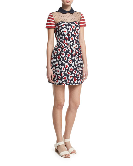 RED Valentino Short-Sleeve Mixed-Print Mini Dress, Blue