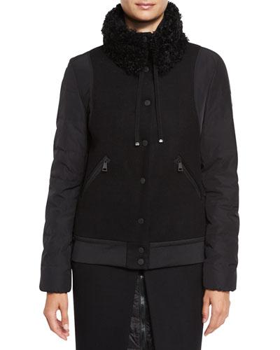 Kyriake Varsity Jacket w/Shearling Fur Collar, Black