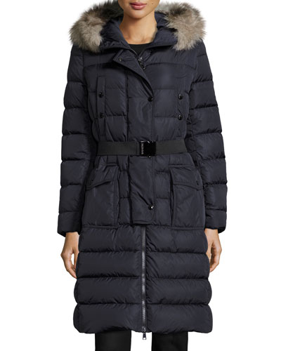 Khloe Quilted Puffer Coat w/Fur Hood, Navy