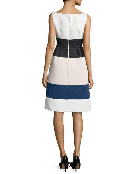 sleeveless structured colorblock dress, cream/multicolor