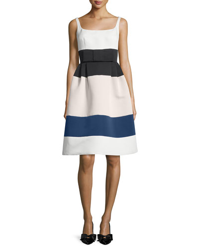 sleeveless structured colorblock dress, cream/multicolor