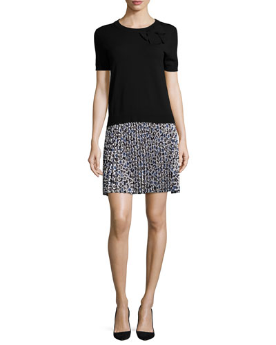 short-sleeve jersey & chiffon combo dress, black