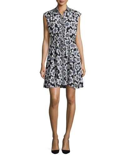 collared floral silk-blend shirtdress, black